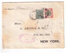 courrier maritime London -- New York en 1902 avec timbre perfins