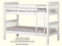 New, Boxed flatpack Novaro Bunk Beds Frame's in White. Strong and Sturdy. FreeDelivery
