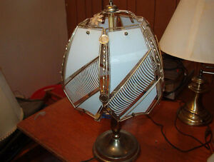 brass 3 candle lamp with large white etched glass shade