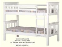 Brand New Novaro Bunk Beds Frame in White. Strong and Sturdy. Can Deliver.