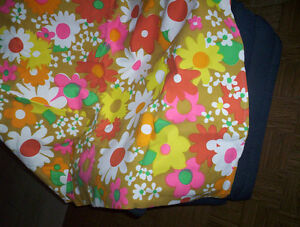 hippie bedspread couch chair cover throw barkcloth FLOWER POWER
