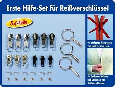 54 tlg. Reißverschluss Reparatur Set inkl. Greifringe Zipper Schieber Metall