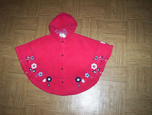 girls 24M red  & vintage  yellow cloak cape poncho 2T & 4/5 knit