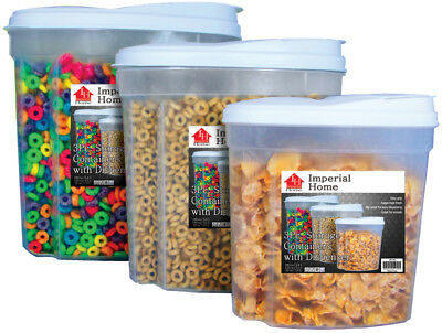 Cereal Storage (3 Pcs Plastic Cereal Dispenser Set - Dry Food Snack Nut Storage Containers)