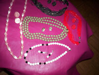 bead necklace and earrings set pink/green/blue & white/red