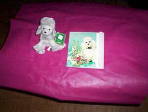 vintage Poodle birthday card unused & Russ plush small toy NWT