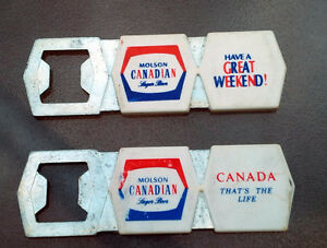 2 VINTAGE MOLSON CANADIAN 1970s Metal Beer BOTTLE OPENERS