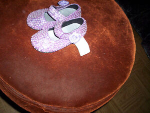 girls toddlers size 5 lilac sequined shoes flower at closure