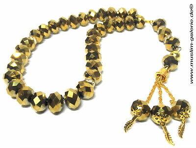 Islamische Gebetskette Tesbih 33 Kristall Optik & Straß Gold *muslim Islam Abaya