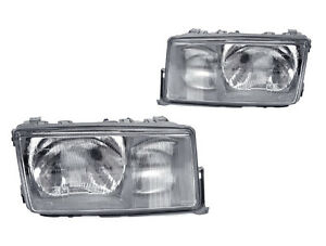 USA DEPO 84-94 Mercedes Benz W201 Euro Glass Headlights Left + Right Pair w/Fog
