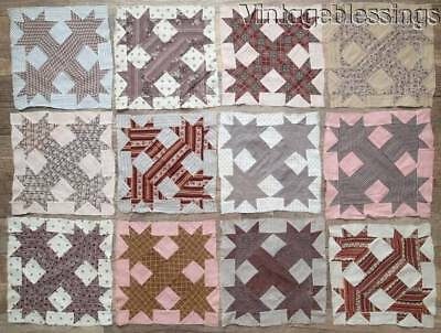 Set of 29 EARLY Antique c1870 QUILT Handpieced Blocks ~ Great Fabrics!