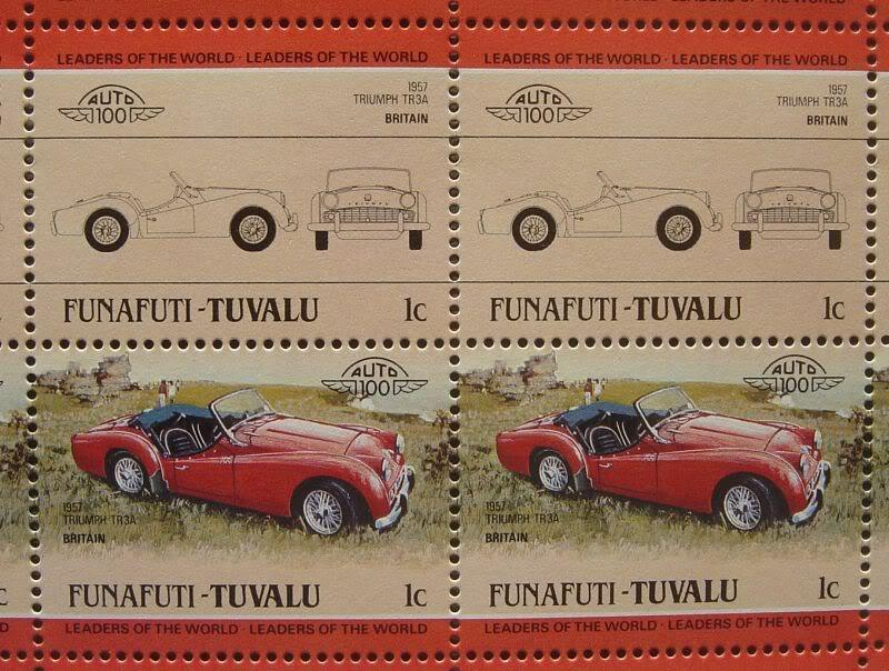 1957+TRIUMPH+TR3+TR3A+Sports+Car+50-Stamp+Sheet+%2F+Auto+100+Leaders+of+the+World