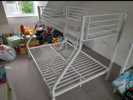 White triple Bunk bed frame (delivery available