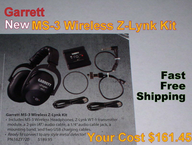 Garrett New MS-3 Wireless Z-Lynk Headphone Kit for Metal Detector FREE Shipping