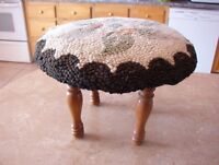 Antique foot stool with hooked top
