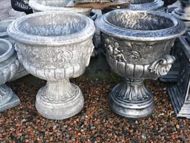 Large concrete garden pot planters and troughs