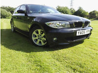 BMW 118 2.0 2005 SE 5 DOOR BLACK LOW MILAGE HPI CLEAR NEW MOT SERVICED
