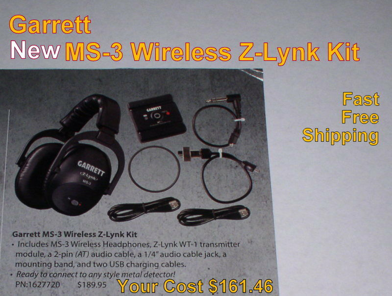 New Garrett MS-3 Wireless Z-Lynk Headphone Kit for Metal Detector FREE Shipping