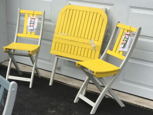 NEW - Patio/Balcony/Garden Table and Chairs (Yellow/White)