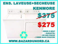 Ensemble Laveuse Secheuse Kenmore usagees/remis a neuf $275