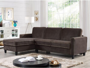 Fontana Transitional Microfibre 2-Piece Sofa Bed with Chaisse