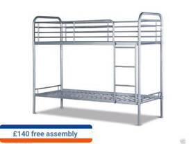 metal bunk bed in white and silver colours free assembly service and delivery