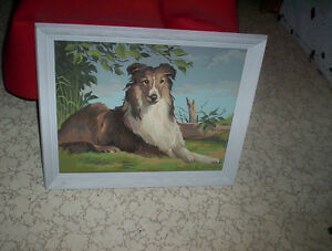 vintage paint by number in wood frame collie dog Lassie ??