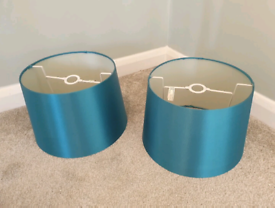 2 x Teal / Turquoise Satin Lampshades