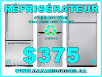 Grossiste+Detaillant d'electromenagers/Refrigerateur inox 375