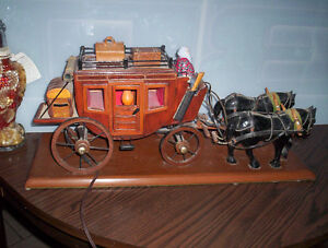 hand crafted prison art stage coach horses light lamp....works