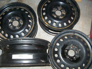 Set of 4 steel rims 17 inch fits Ford Mustang , good used.