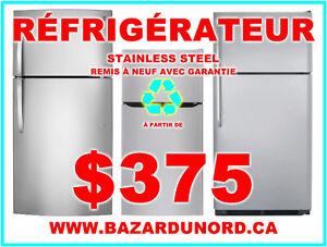 Refrigerateur/Frigo inox usage/remis a neuf a partir de $350.00