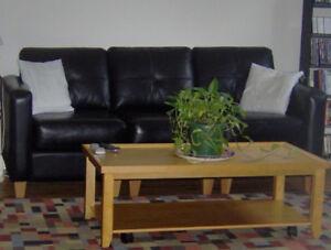 Superbe canapé-divan sectionnel en cuir haut de gamme.