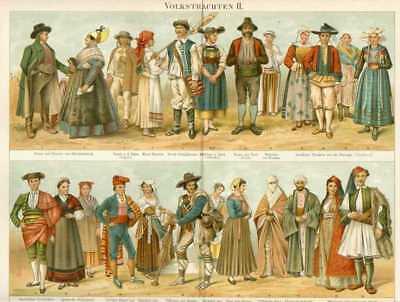 VOLKSTRACHTEN Österreich Italien Spanien LITHO von 1897 Frankreich Ungarn