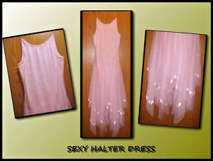 Sequince Halter Style Party Dress
