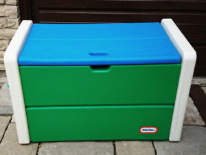 Vintage Large Little Tikes Toy Box Chest White/Green/Blue