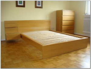 ikea malm bed frame with wooden slats and side table double