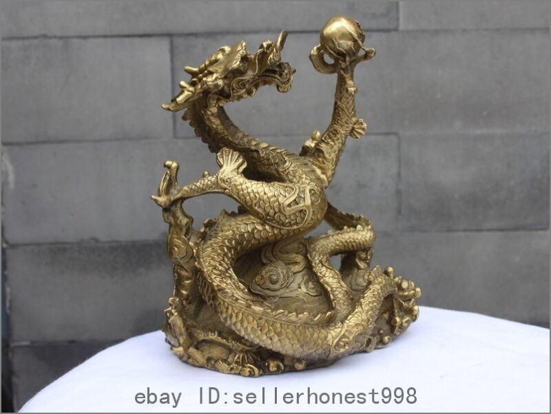 "7""China Royal Pure Brass Copper Fengshui Dragon Hold Bead Palace Decor Statue"