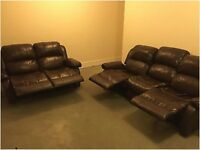 leather recliner sofa set 3+2 seaters in good condition