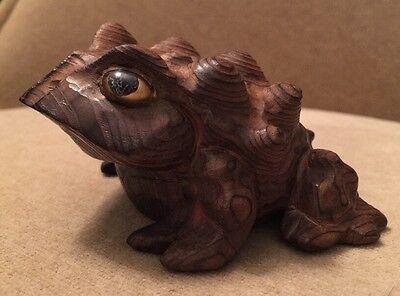 Vintage MCM Japan Hand-Carved Frog Cryptomeria Wood Horny Toad