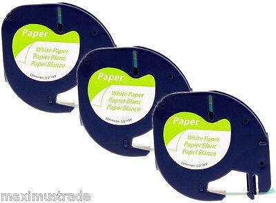 3 komp. 91220 Schriftbandkassetten für Dymo LetraTag XR QX50 12mm schwarz weiß