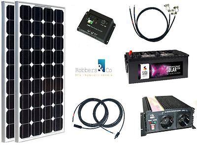 200 Watt Camping Solaranlage, 12 Volt SET mit Spannungswandler und Batterie
