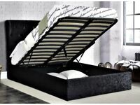 Black velvet king size ottoman bed. New and boxed.