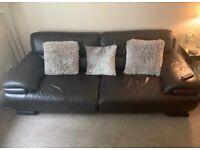 Black leather sofa (2 & 3 seater)