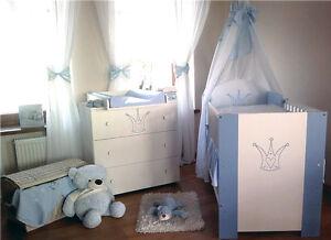 Kroneblau komplett Set Babybett Kinderbett  Wickelkommode Babyzimmer Baby Bett