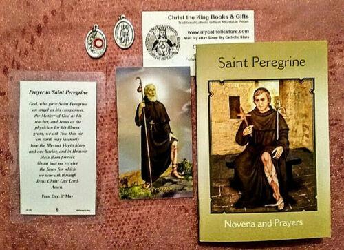 ST PEREGRINE CANCER PATRON GIFT SET w/NOVENA LAMINATED PRAYER CARD & RELIC MEDAL