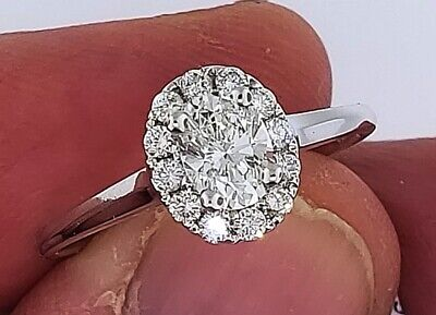 Natural OVAL Diamond G-VS1 GIA Halo 14k W Gold Engagement Ring .72 ctw Sz 6.5  7