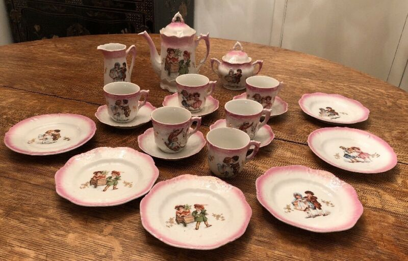Victorian Era Antique German Porcelain Child's Tea Set • 22 Pieces