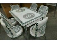✨🔥🔥MASSIVE SAVINGS 🔥🔥ON VERSACE FIERY EXTENDABLE DINING TABLE WITH 6 CHAIRS