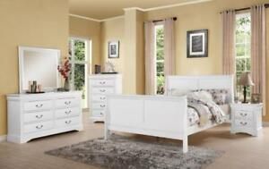 6 PC QUEEN SIZE CHERRY, BLACK, WHITE BEDROOM SET $898